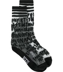 ktz multi-letter embroidered sheer socks - black