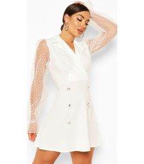 dobby mesh button detail puff sleeve skater dress, white