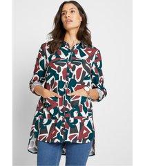 lange viscose blouse met steekzakken