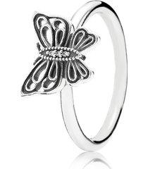 anel de prata borboleta brilhante