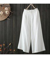 zanzea alto de las mujeres elásticos de la cintura largo harem pantalones ocasionales amplia llanura piernas pantalones plus -blanco