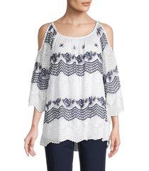 le marais women's cold-shoulder silk top - white - size s