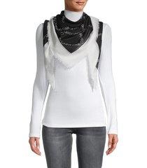 calvin klein women's logo-print scarf - eggshell