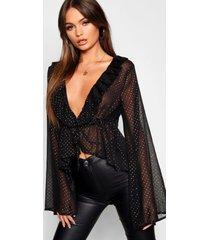 blouse met v-hals en ruches, zwart