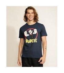 camiseta masculina popeye manga curta gola careca azul marinho