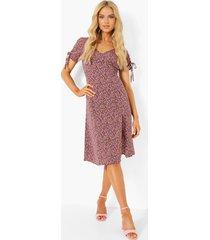 bloemenprint midi jurk met zijsplit, pink