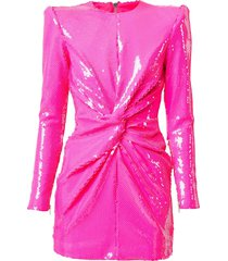 alex perry jade sequin-embellished structured mini dress - pink
