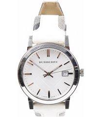 burberry sunray checked watch silver/multicolor sz: