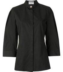 jil sander decorative button-detail shirt - black