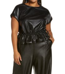 open edit faux leather cinch waist top, size 1x in black at nordstrom