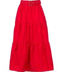taffeta maxi-rok tess  rood