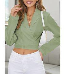 camicetta a maniche lunghe annodata con scollo a v tinta unita per donna