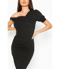 off shoulder puff sleeve midi dress, black