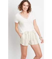 maurices womens off white stripe linen 3.5in dolphin shorts
