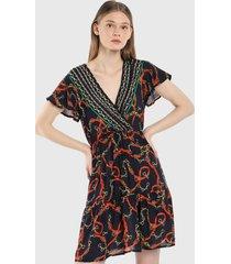 vestido azul-naranja-verde paris district