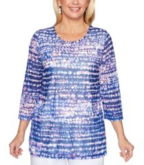alfred dunner petite classics 2019 printed embellished top