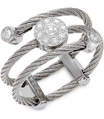 alor women's 18k white gold, stainless steel cable & diamond ring/size 8 - size 8