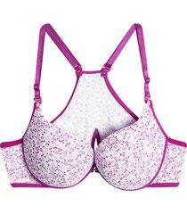 brasier estampado broche delantero color rosado, talla 34b/m