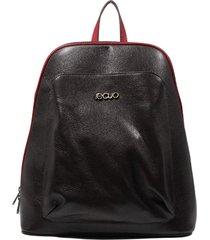 mochila de couro recuo fashion bag café/vermelho