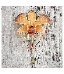 gold accent natural flower brooch, 'sweet sunrise' (thailand)