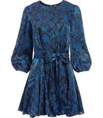 alice+olivia mina belted godet dress - blue
