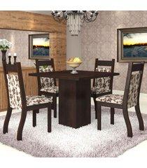 mesa de jantar 4 lugares sala aires nogueira/brownie - viero móveis