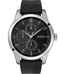 hugo men's #discover black leather strap watch 46mm