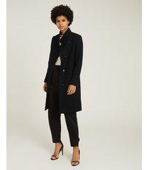 reiss marcie - wool blend mid length coat in black, womens, size 12