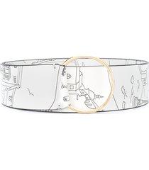 emilio pucci sketch print wide belt - white