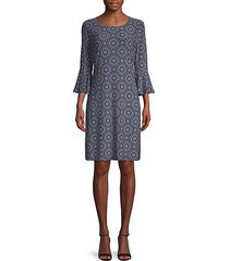 geometric-print shift dress