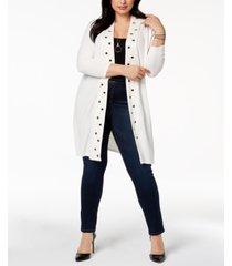 belldini plus size grommet-trim duster cardigan