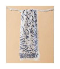 lenço estampado - lenço mexico cor: azul - tamanho: único