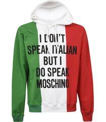 moschino colour block quote hooded sweatshirt