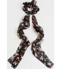 ellen floral chiffon pony scarf - navy