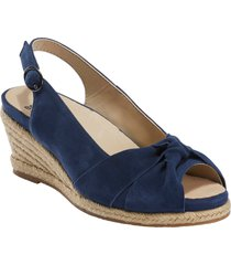 women's earth thara bermuda peep toe wedge sandal, size 9.5 m - blue