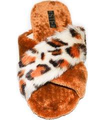 sandalia peluche animal print / café stefi calzado