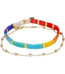 gold flash plated multi-color bracelet set