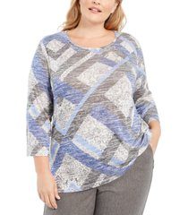 alfred dunner plus size sapphire skies melange knit top
