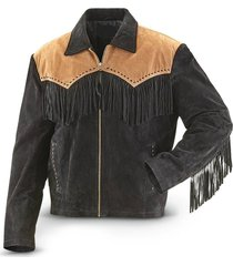 men's traditional western suede leather cowboy jacket coat with fringes vintage