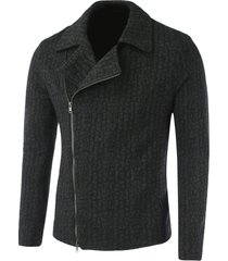 lapel collar diagonal zip-up geometric pattern jacket