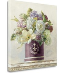 """tangletown fine art tulips in aubergine hatbox by danhui nai giclee print on gallery wrap canvas, 24"""" x 24"""""""