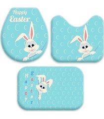 jogo love decor wevans tapetes para banheiro páscoa coelho bubble azul