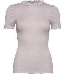 silk t-shirt regular ss w/lurex t-shirts & tops short-sleeved paars rosemunde