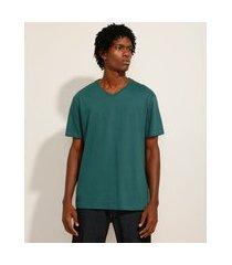 camiseta básica manga curta gola careca verde escuro