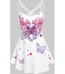 criss cross butterfly printed tank top