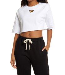 women's bp. organic cotton crop sweatshirt, size large - white