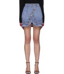 button front wrap denim mini skirt