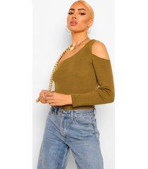 asymetrische geribbelde trui met uitsgesneden schouders, khaki