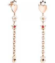 aretes largos real sisy de plata vermeil rosa con gemas