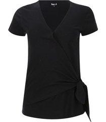 camiseta mujer unicolor cruzada color negro, talla 6